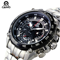 CAINO Men Sports Watches Chronograph Date Japan Move T Waterproof 100m Race Watch Mens Quartz Full