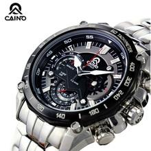 CAINO Men Sports Watches Chronograph Date Japan Move't Waterproof 100m Race Watch Mens Quartz Full Steel Business Wristwatch