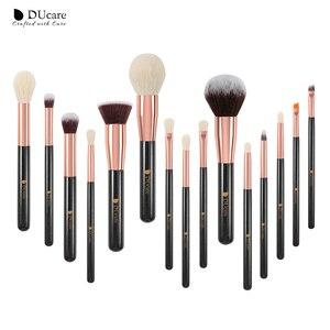 Image 2 - DUcare brushes Black 15PCS Makeup brushes Professional Make up brushes Natural hair Foundation Powder Highlight Brush Set