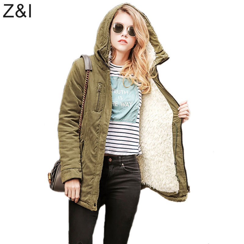 Women Fashion Hooded Dovetail Coats Ladies Thickening Cotton Padded Warm Parkas Army Green Jackets Outerwear 2017 Winter WS62
