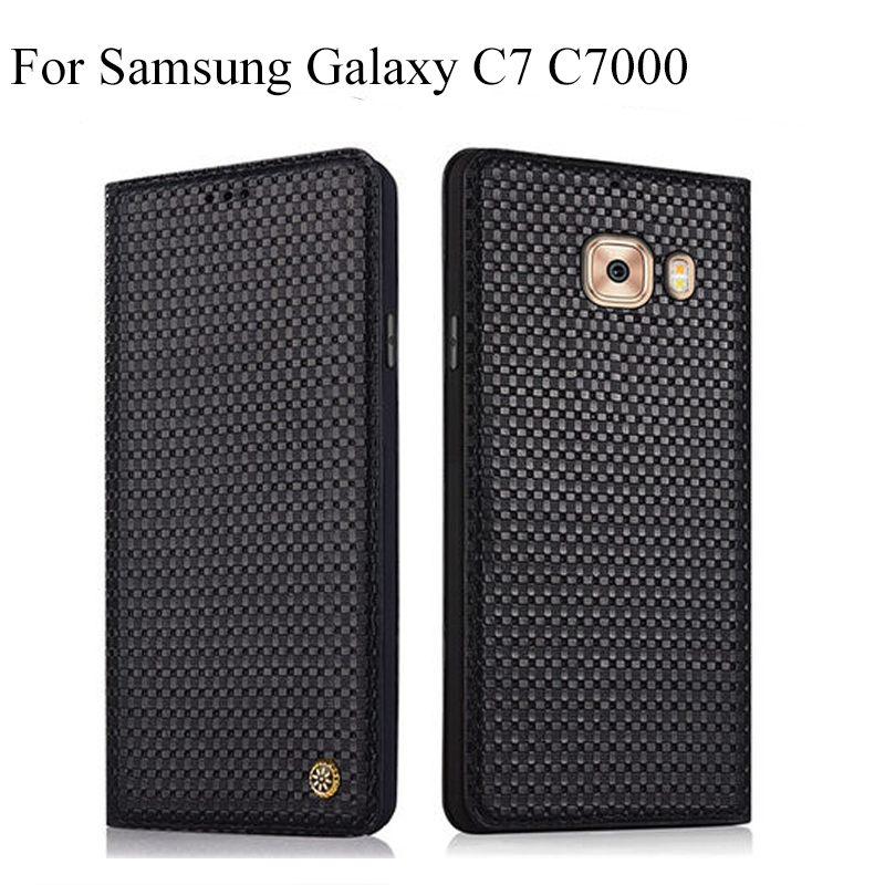 Genuine Leather back case cover For Samsung C7 C 7000 C 700 SM C7000 capas flip case shell cover For Samsung Galaxy C7 C 7