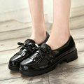 2017 New Women Oxfords Flat Shoes Patent Leather Derbies Femme Cuir Flats Sweet Mori Girls Preppy Students Heels Shoe Brogues