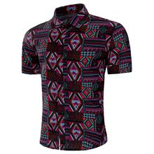 Mens Dress Shirts National style Blouse Men Short sleeve New Model Hawaiian Summer