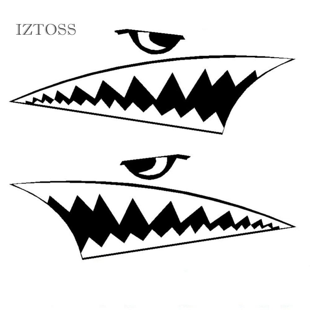 iztoss car styling stickers cartoon mini shark teeth great white