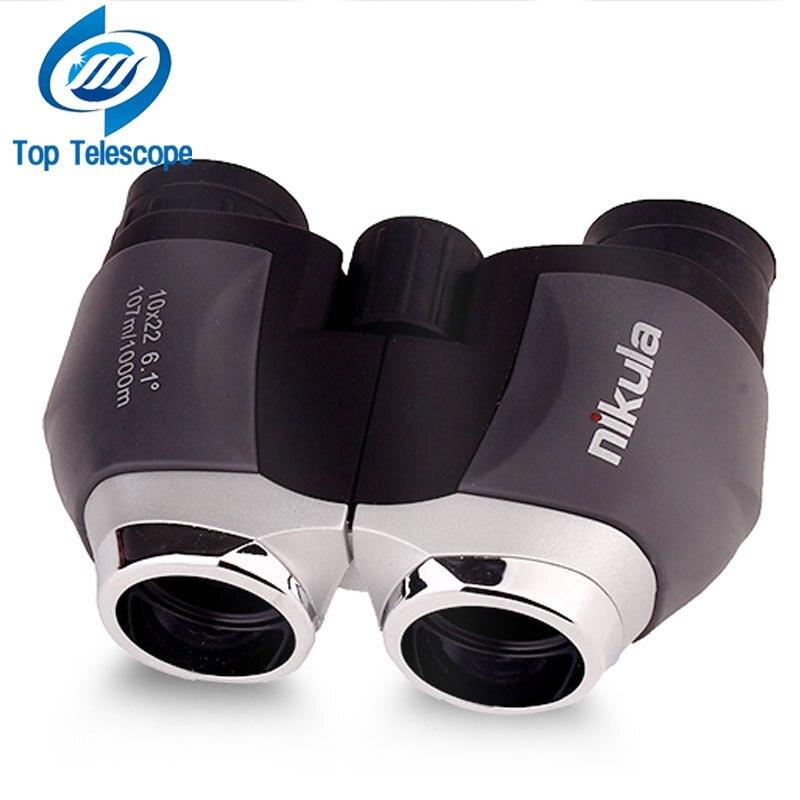 Genuine telescope nikula 10x22 hd binoculars for fishing portable outdoor fun sports game concert telescopio spotting scope mini Бинокль