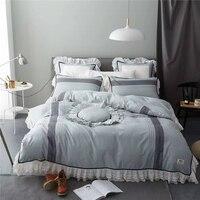 Luxury Jacquard Silk Cotton King Queen Size Bedding Set Duvet Cover Set Bed Linen