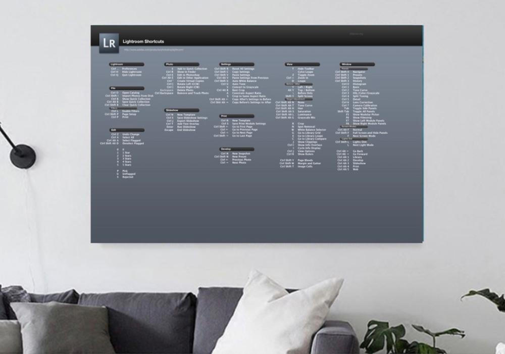 US $3 14 21% OFF|Lightroom Code Keyboard Shortcut Key Diagram Detailed  Poster Canvas Painting DIY Wall Sticker Home Bar Posters Decoration Gift-in