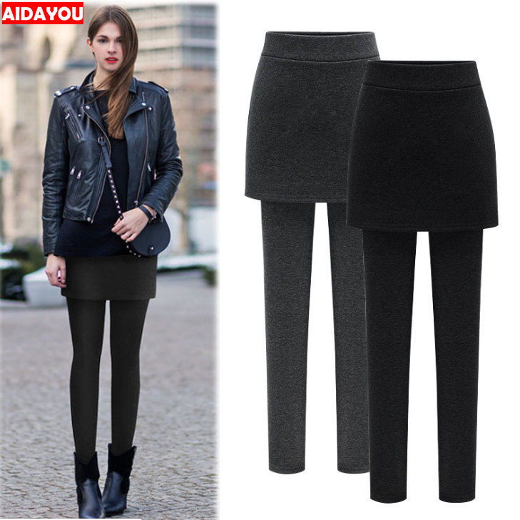 Skirt Leggings Women Fleece Warm Winter  Thickening Plus Size 4XL 5XL 6XL Big Size Clothing Korean  Legins  Ouc058