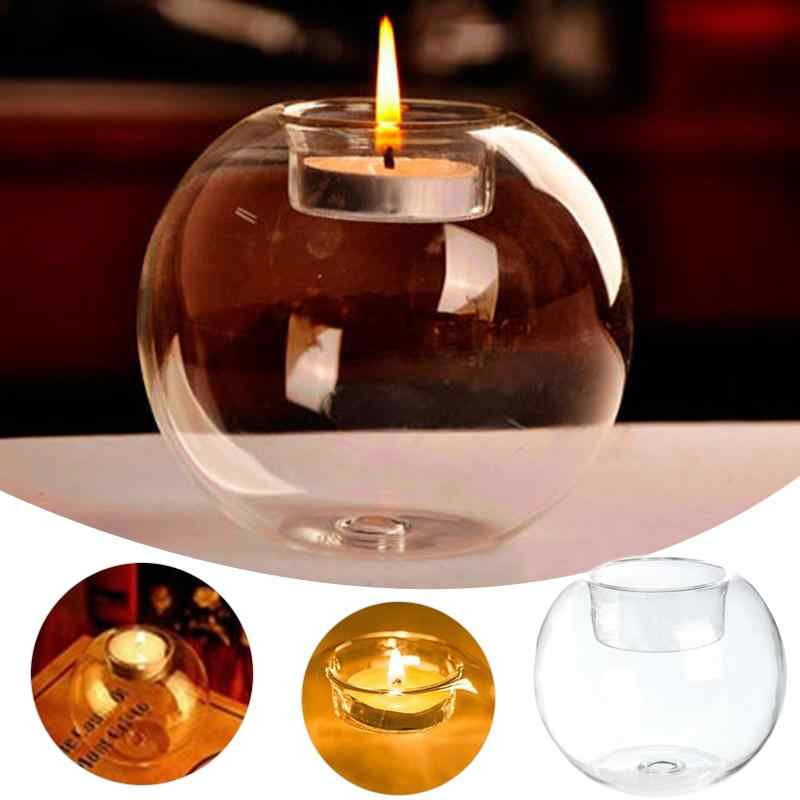 1PCS Romantic Decorative Ball Glass Candlesticks  Crystal Glass Candle Holder Wedding Bar Party Home Decor Candlestick #A18