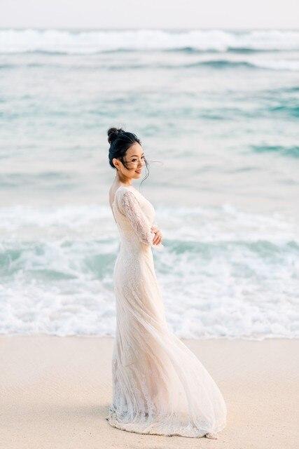 2019 Vintage mariée Boho dentelle robe pour la fête de mariage plage robes de mariée vestidos de noiva Robe de mariage robe de Mariee 5