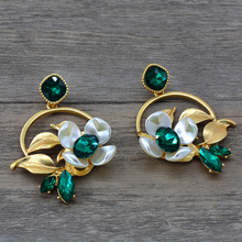 New high quality Baroque green crystal drop Earrings For Women Vintage flower branch dangle Statement earrings fashion Jewelry