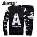 Jolintsai Print Sportwear Men 2017 Hoodies And Sweatshirts+Pants Tracksuit Mens Plus Size M-3XL Sweat Homme Pullover Set