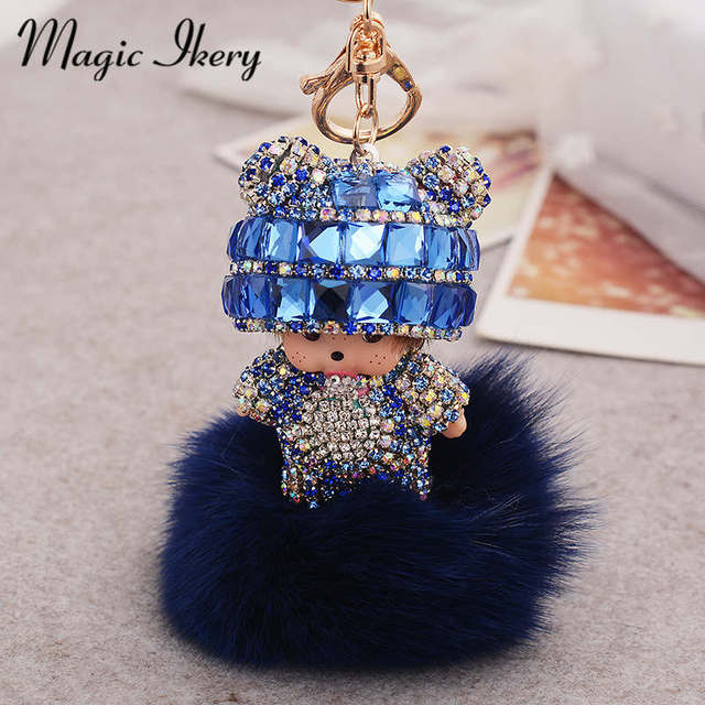 Magic Ikery Gold Plated popular Plush monchichi key chain  bag pendant Key Chains Wholesales Fashion Jewelry for women MKCH009