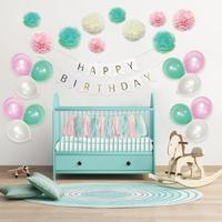 Niños fiesta de cumpleaños decoración set Feliz cumpleaños globos colgante remolinos Pompones Boy Girl party Accesorios