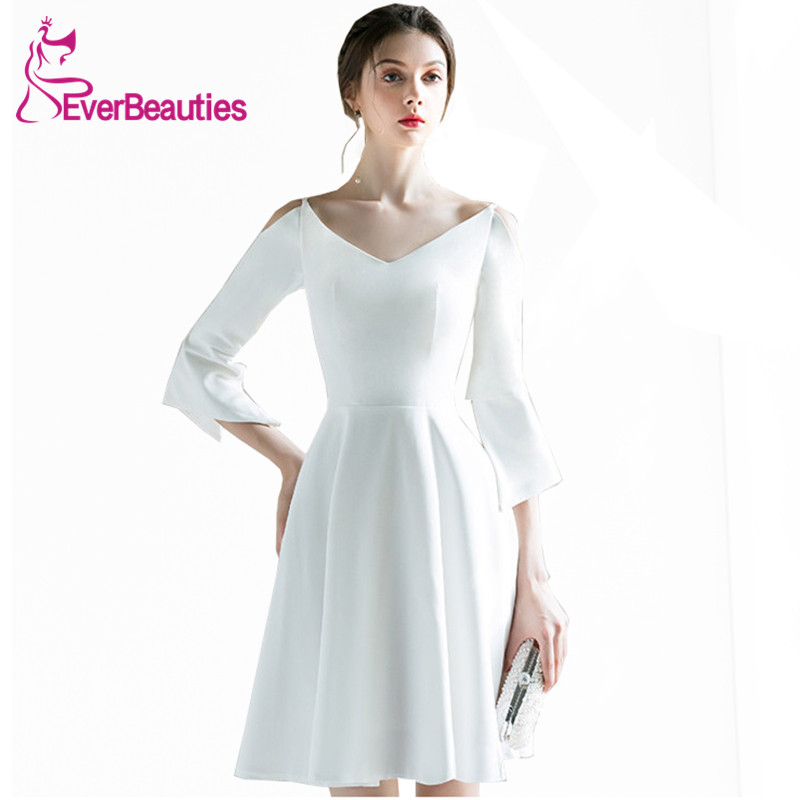 White Cocktail Dresses with Half Sleeves Satin V-Neck Knee-Length Prom Party Dresses Robe De Cocktail 2019