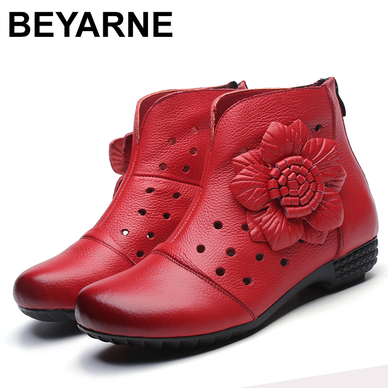 BEYARNES Summer High Quality Genuine Leather Women Boots Shoes Platform Thick Heels Round Toes Cut Out Hole Flower Ankle Boots
