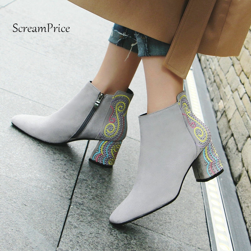 все цены на Woman Suede Comfort Thick Heel Crystal Zipper Ankle Boots Fashion Square Toe Dress Boots Woman Black Gray