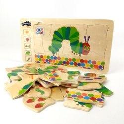 A più strati Bruchi Puzzle Di Legno Gioco di Sviluppo Intellettuale Apprendimento Precoce Giocattoli Educativi Regalo per I Bambini Bambini