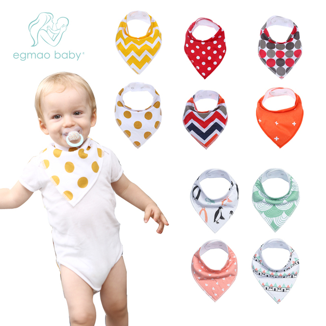 EGMAOBABY Baby Bib New Waterproof Saliva Scarf Fashion Print Baby Towel Baberos Bebes Soft Cotton Bibs Burp Cloths Accessories