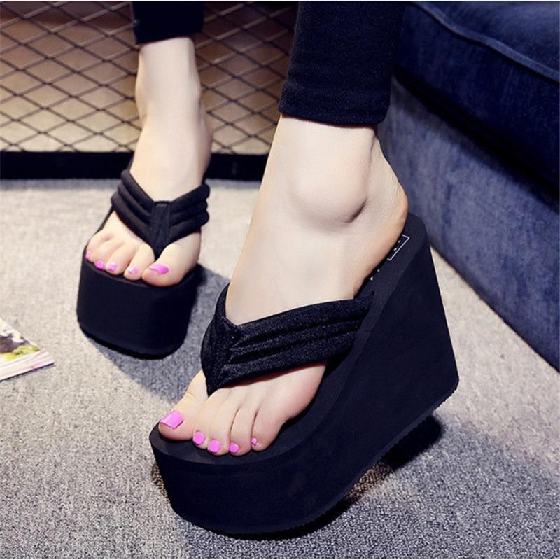 Թեժ վաճառք Soild Wedge Platform Flip Flops Women Shoes 2016 Կանանց ամառային կոշիկներ Բարձր կրունկներ Լողափերի սանդալներ Տիկնայք Հաստ Բարձր Pantufas