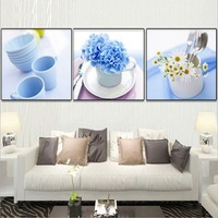 Hot Sale Flowers Coffee Cup Pattern Full Diamond Painting European Style Restaurant Decoration Three Pictures Diamond