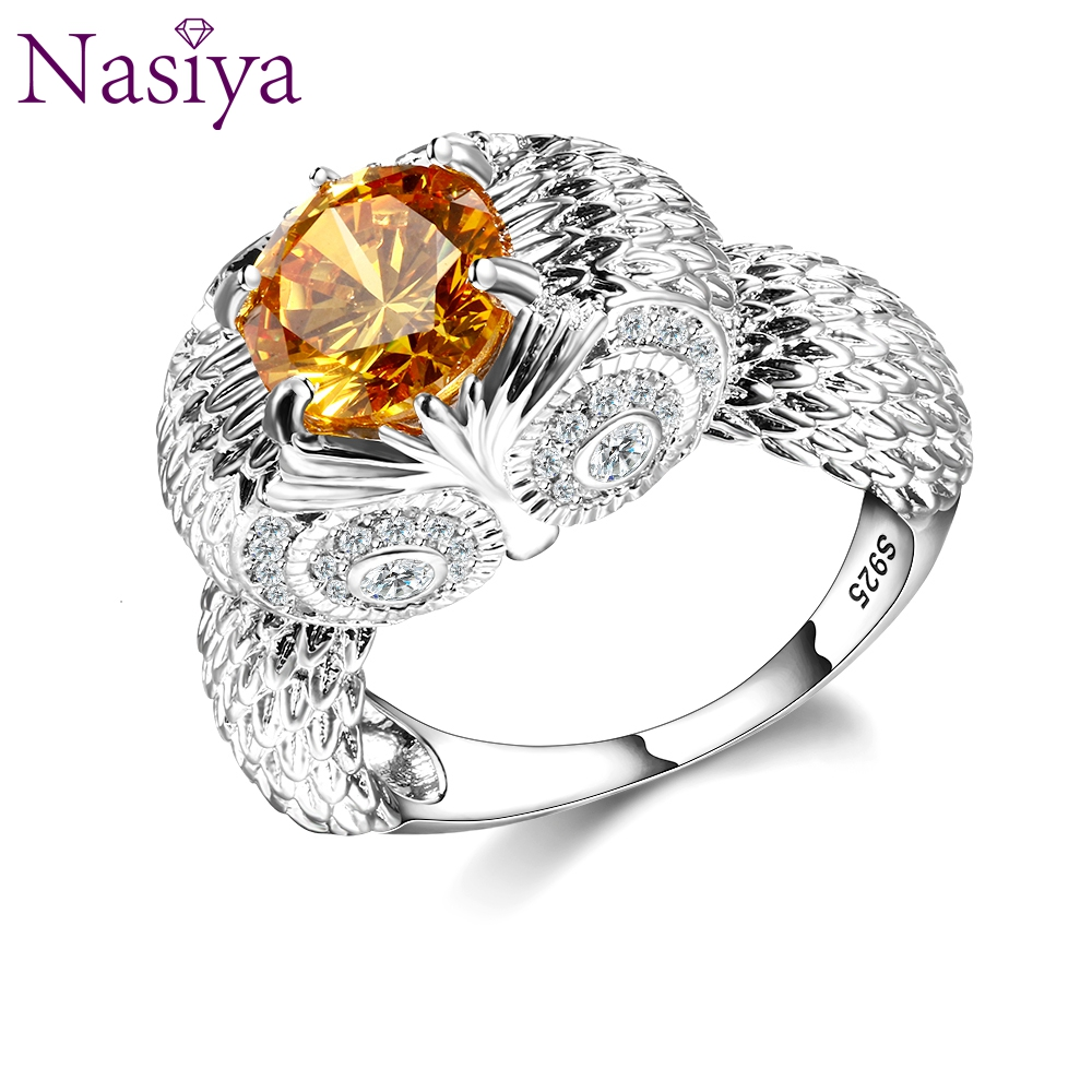 Newest Vintage 925 Sterling Silver Owl Charm Rings For Women Men Yellow Oval Citrine Cubic Zirconia Stones Jewelry Ring Bague
