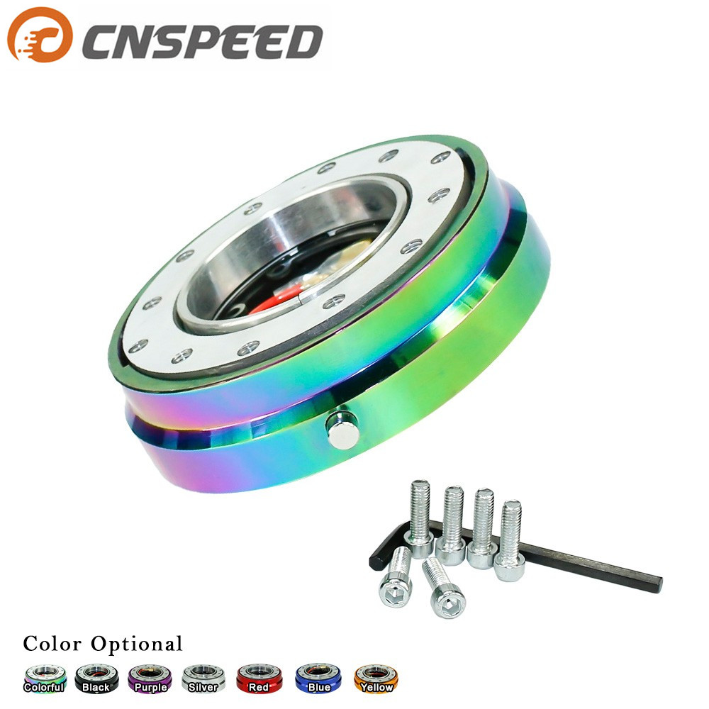 CNSPEED Thin Version 6 Hole Steering Wheel Quick Release Hub Adapter Snap Off Boss kit Sliver/ Purple/Blue/Golden/Black/Red/Neo forever sharp a01 56p steering wheel adapter 5 6 hole billet alum