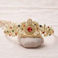 India Bridal Red Tiara Crystal Wedding Gold Hair Accessories Half Round High Grade Rhinestone Wedding Crown