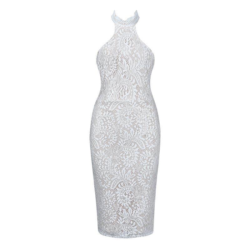 Lacée Dentelle Robes Sans Bqueen Sexy Club De Halter Manches Off Épaule 2019 Fête Femmes White Robe Dress Moulante eD92WEIYH