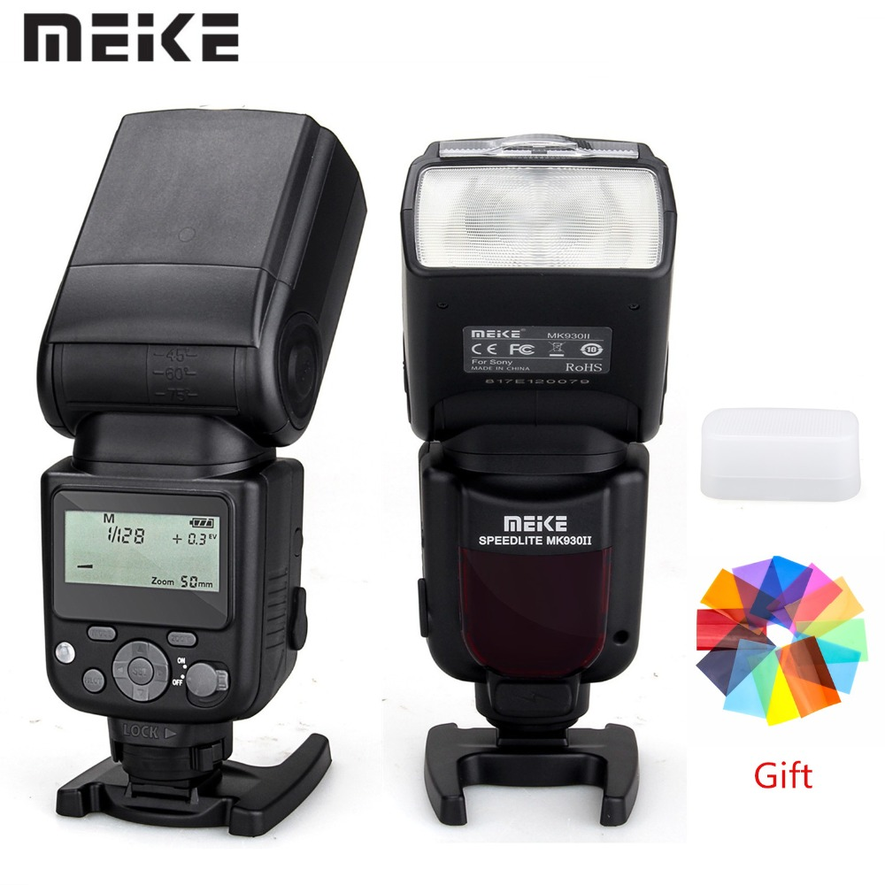 MEIKE MK 930 II foto con Flash Speedlite para Sony DSLR Cámara A7 A7R A7S A7 II A7R II A7S II A6300 a6000 luz de velocidad con filtro-in Flashes from Productos electrónicos    1
