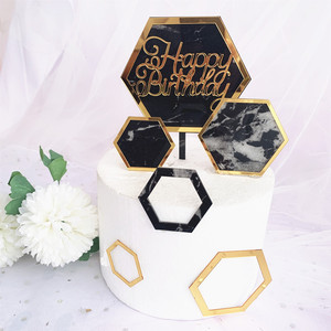 Image 4 - New INS Marble Acrylic Cake Topper Hexagon Gold Happy Birthday Cake Topper For Kids Birthday Party Cake Decorations Baby Shower
