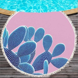 Summer Sunbath Pineapple Cactus Printed Large Big Microfiber Round Towel Beach With Tassels Thick Terry Serviette De Plage