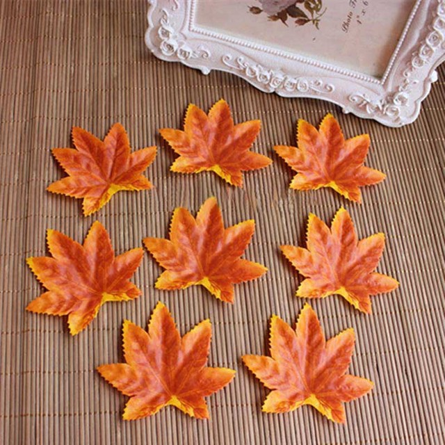 120pcs 8 6 5cm fake fabric autumn leaves artificial silk fall maple
