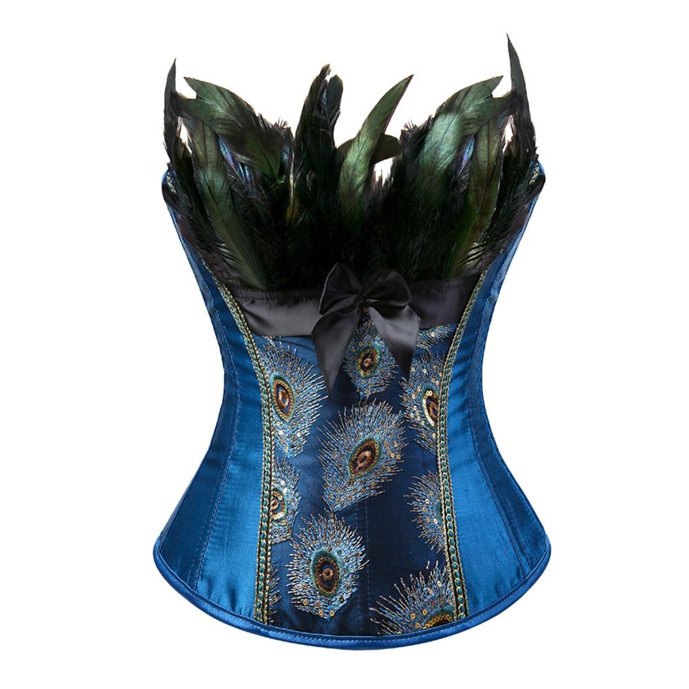 Women Sexy Peacock Waist Tranier Corset Nightclub DS Halloween Hen Party Feathers Floral Bustiers Corselet