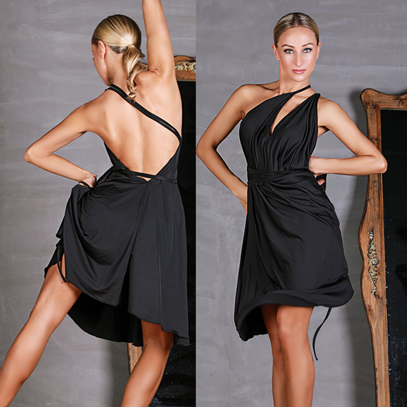 Black Latin Dress Sexy Cha Cha Samba Rumba Salsa Practice Dance Wear Tango Performance Clothes Ballroom Dancing Outfit DC2503