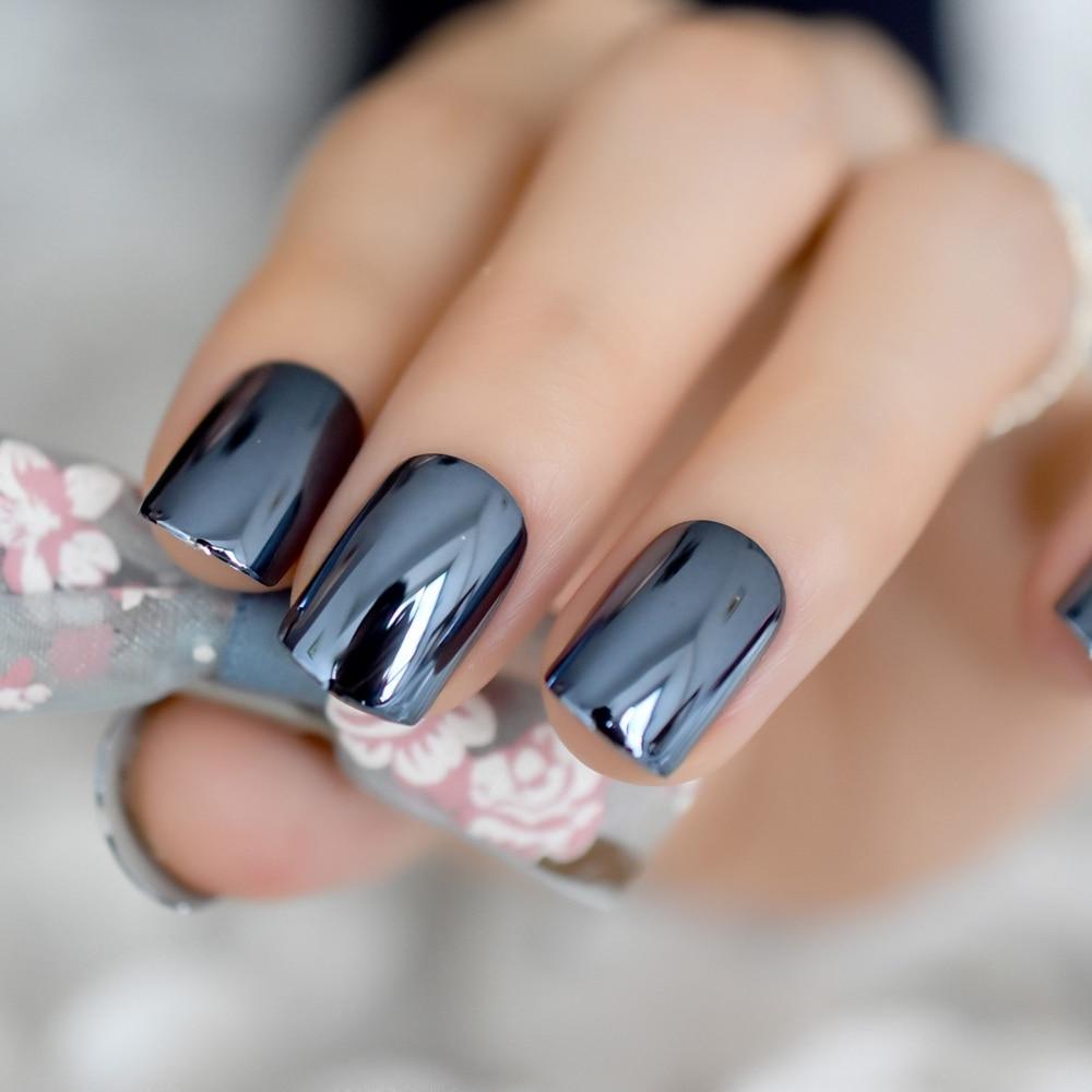 Dark Blue Metallic Acrylic Nail Art Tips For Finger Short