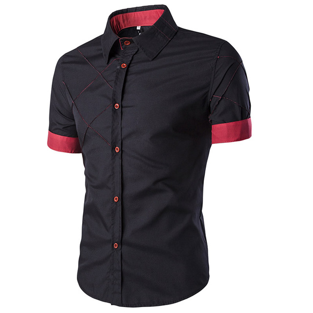 2017 Fashion Summer Men Shirt Vetement Homme Short Sleeve Slim Fit Shirt Camisa Masculina Turn Down Collar Single Button Shirts