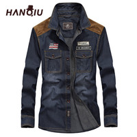 2018 HANQIU Denim Shirt Men Long Sleeve Fall Youth Fashion Cowboy Shirt Men Camisa Masculina Plus Size S 4XL