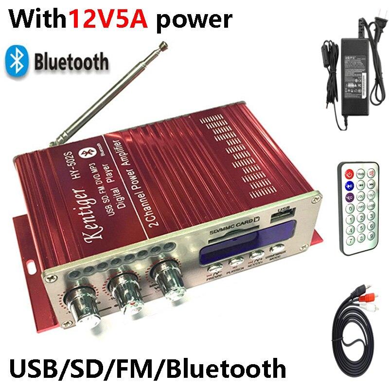 KENTIGER HY-502S Avec 12V5A Puissance Adaptateur 40 w Mini Bluetooth Amplificateur + Câble AV + Télécommande USB/SD carte Lecteur FM Radio