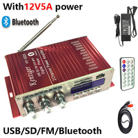 KENTIGER HY 502S With 12V5A Power Adapter 40W Mini Bluetooth Amplifier + AV Cable+ Remote Control USB/SD Card Player FM Radio