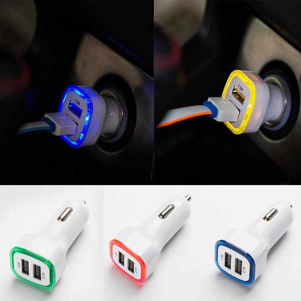 2.1A LED Charger Mobil untuk iPhone/Samsung/HTC USB Dual 2 Port Adaptor Soket 2.1A Dual USB Cargador d2
