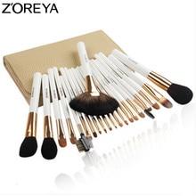 ZOREYA Sable ผมชุดแปรงแต่งหน้ากระเป๋าเครื่องสำอางค์ 22pcs Professional Make Up แปรงพัดลม Powder อายแชโดว์แปรงแต่งหน้า