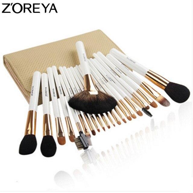 Zoreya sable cabelo maquiagem escova conjunto com saco de cosméticos 22 pçs profissional compõem escovas ventilador pó sombra maquiagem escovas