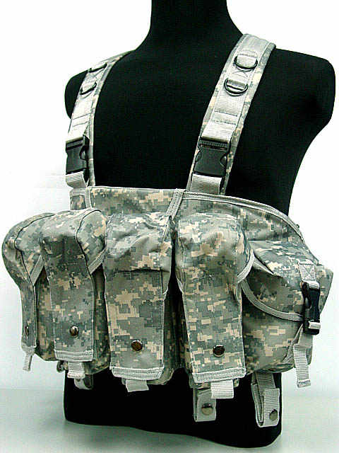 Military Tactical Camouflage Vest Airsoft Ammo Chest Rig AK 47 Magazine Carrier Combat