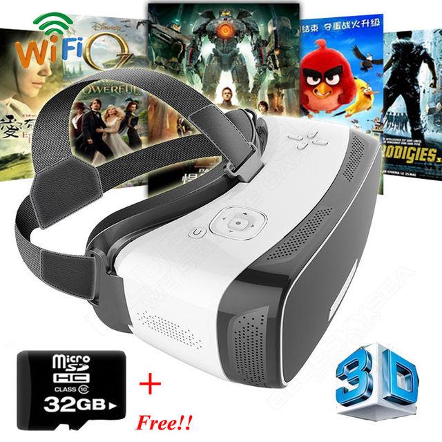 Frete grátis! smart 3d de realidade virtual vr caixa v2 android 5.1 óculos movimento fone de ouvido wi-fi + 32 gb tf