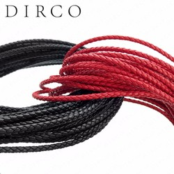 About the Fit 3mm 100 Meters Leather Cord Genuine Braided Leather Nappa Cow Leather Accessories For Jewelry Making Woven Rope