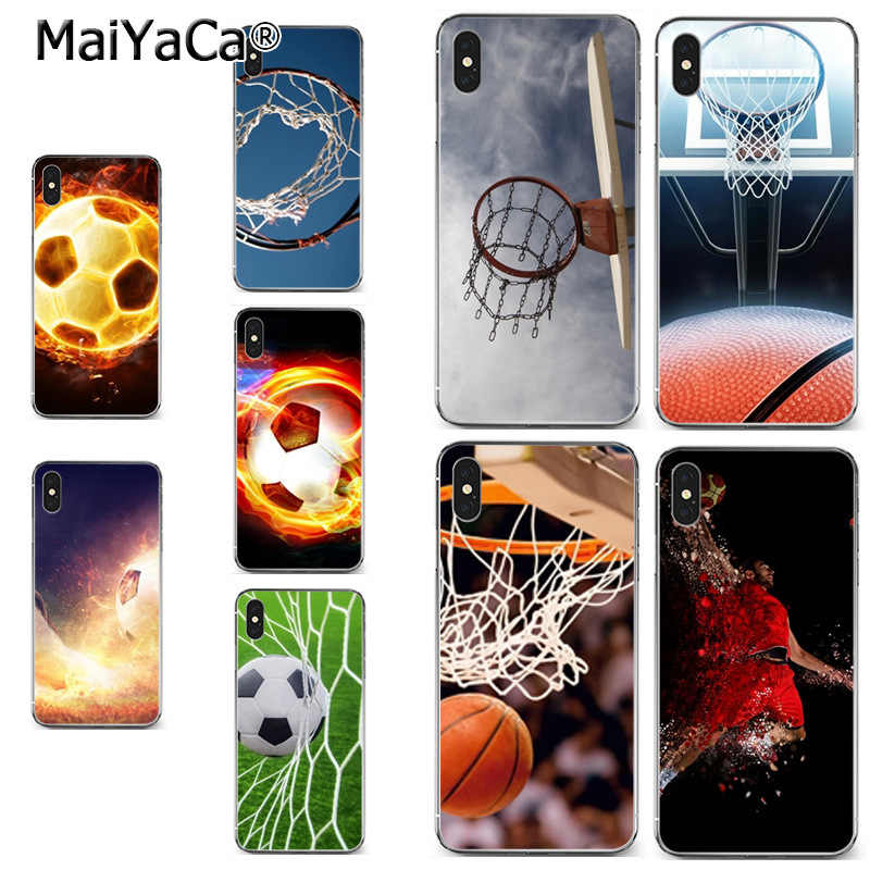 MaiYaCa basketball basket football flame Classic image paintings cover phone Case for iPhone X XS MAX XR 6S Plus 5S 7 8PLUS case