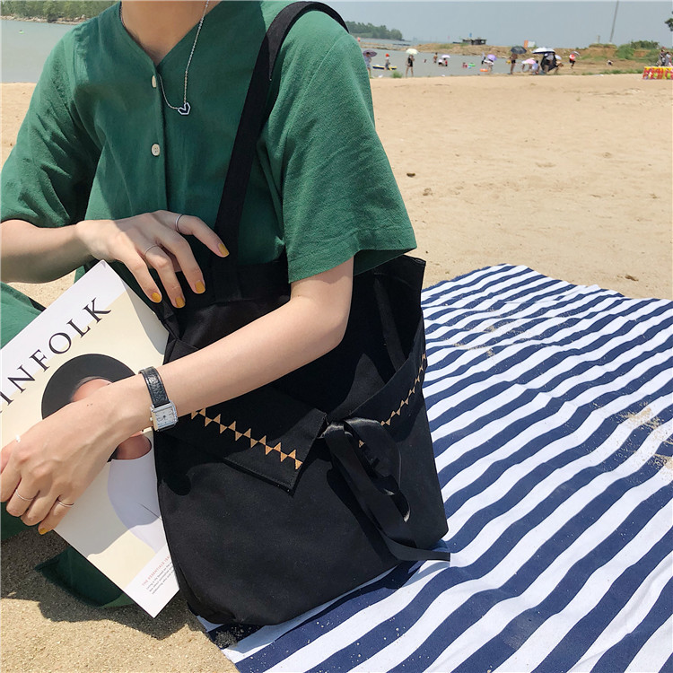 New literary fresh shoulder canvas bag Embroidery Fairy bag Casual student portable simple environmental bag in Shoulder Bags from Luggage Bags