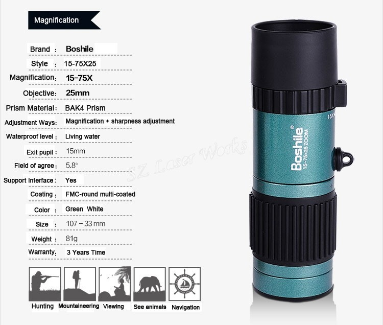 Original Boshile travel binoculars 15-75x25 HD Flexible focus High Power Mini Monocular Zoom Telescope For Camping Free Shipping 14