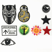 Black White Sun And Stars Badge Patch Embroidered Patches For Clothing Iron On Close Shoes Bags Badges Embroidery DIY